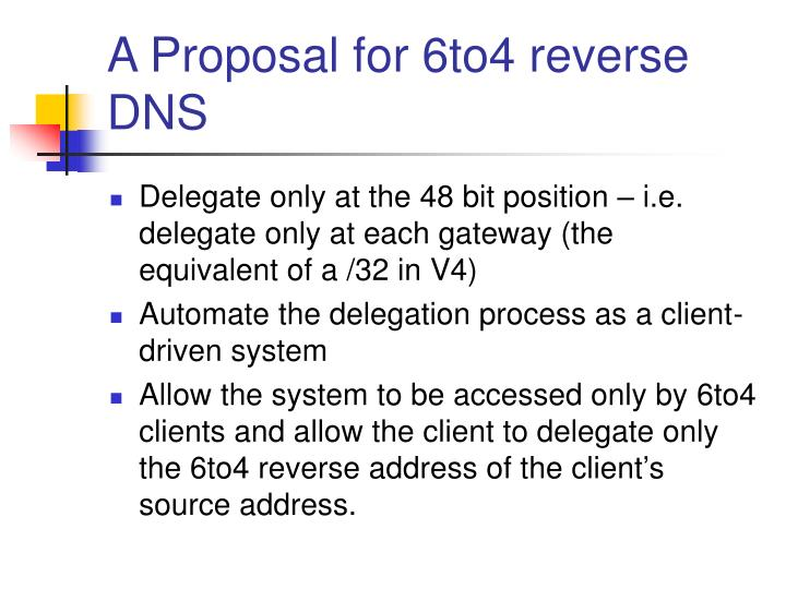 A Proposal for 6to4 reverse DNS