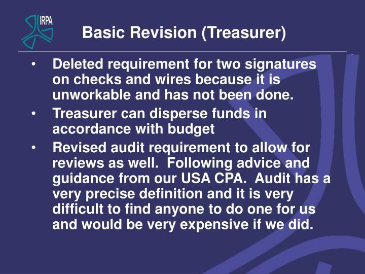 Basic Revision (Treasurer)