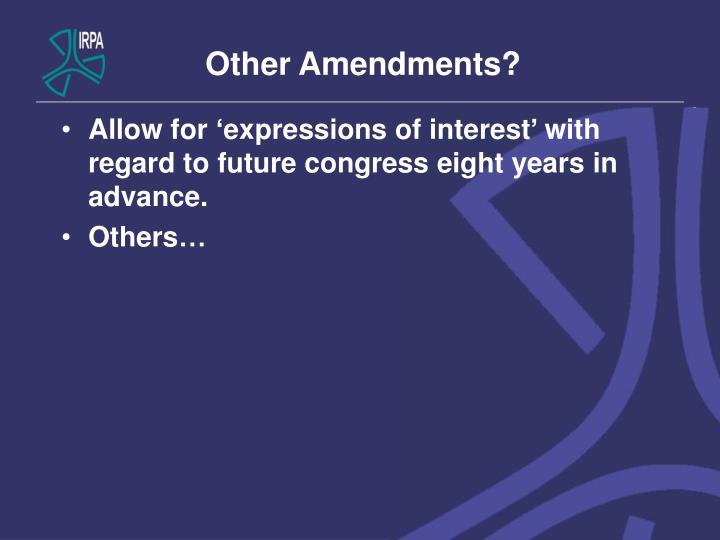 Other Amendments?