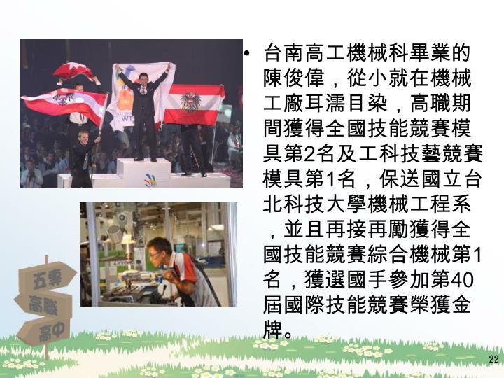 台南高工機械科畢業的陳俊偉,從小就在機械工廠耳濡目染,高職期間獲得全國技能競賽模具第
