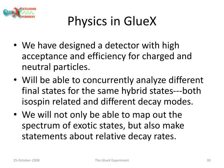 Physics in GlueX