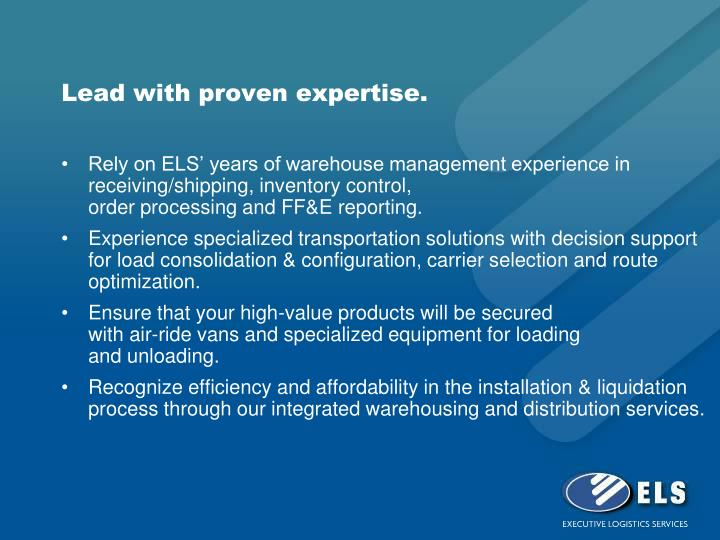 Lead with proven expertise.