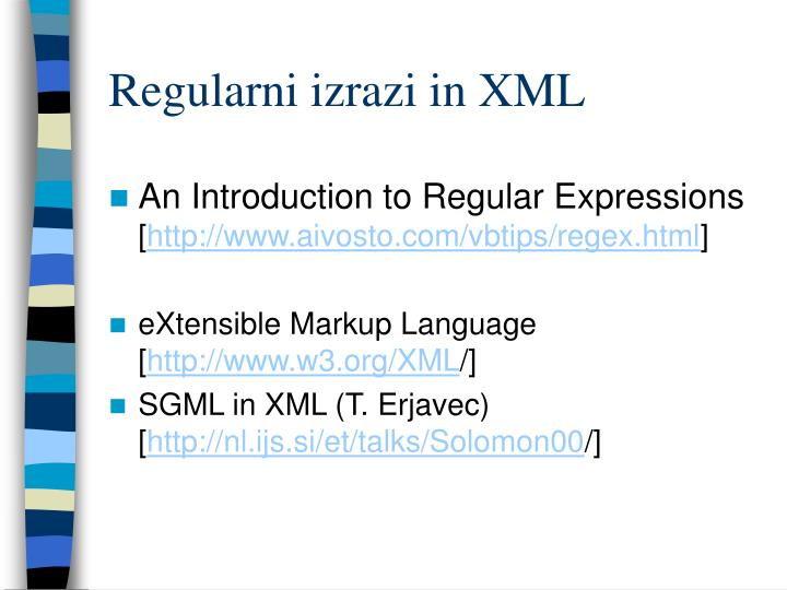 Regularni izrazi in XML