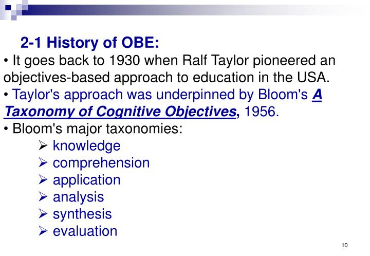 2-1 History of OBE: