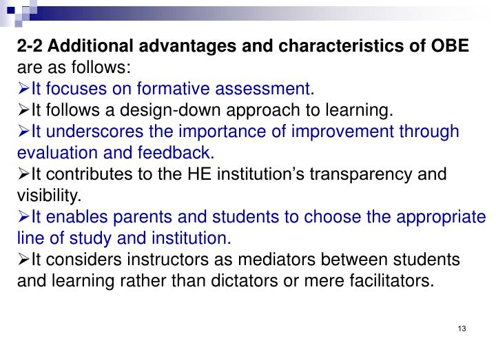 2-2 Additional advantages and characteristics of OBE