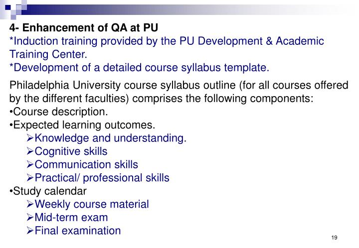 4- Enhancement of QA at PU
