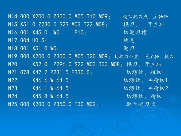 N14 G00 X200.0 Z350.0 M05 T10 M09