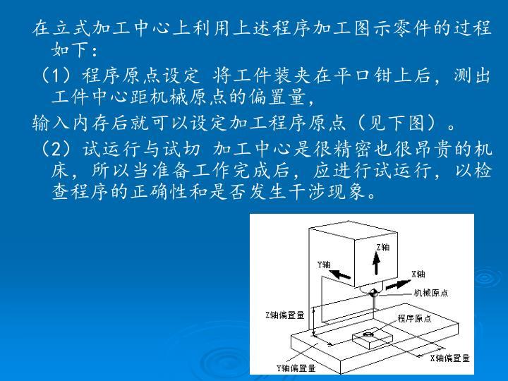 在立式加工中心上利用上述程序加工图示零件的过程如下: