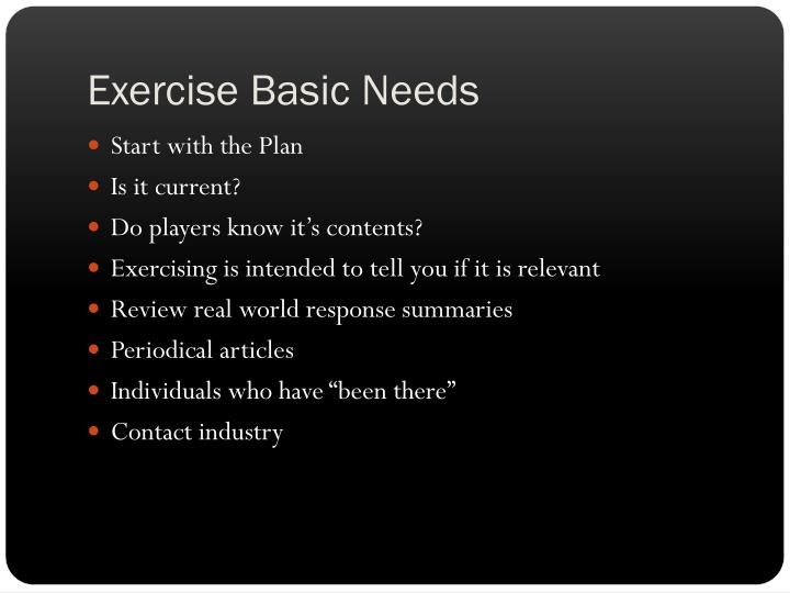 Exercise Basic Needs