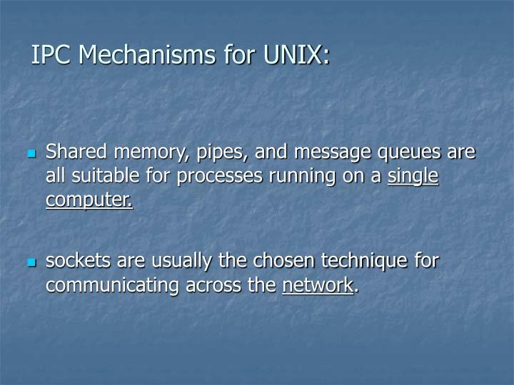 IPC Mechanisms for UNIX: