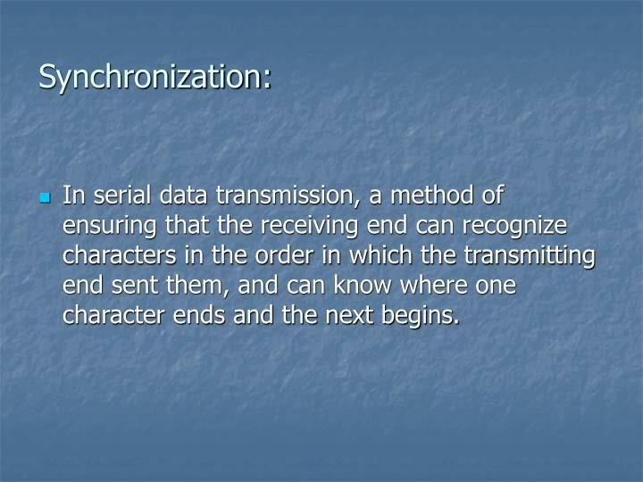 Synchronization: