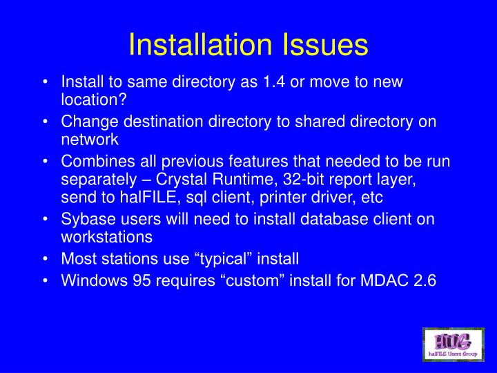 Installation Issues