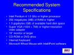 recommended system specifications