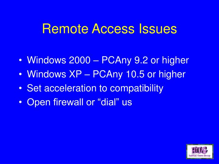 Remote Access Issues