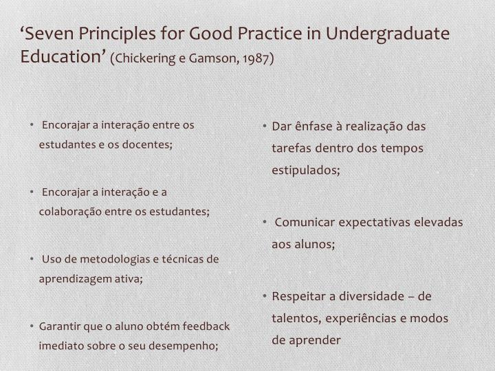 'Seven Principles for Good Practice in Undergraduate Education'