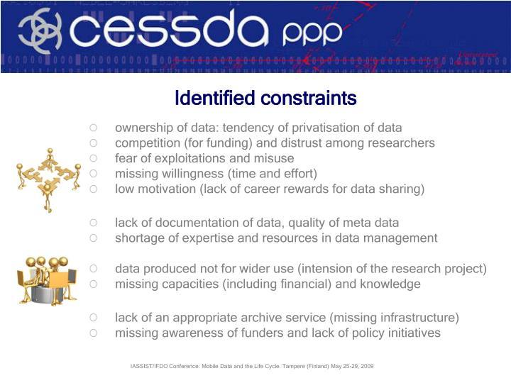 Identified constraints