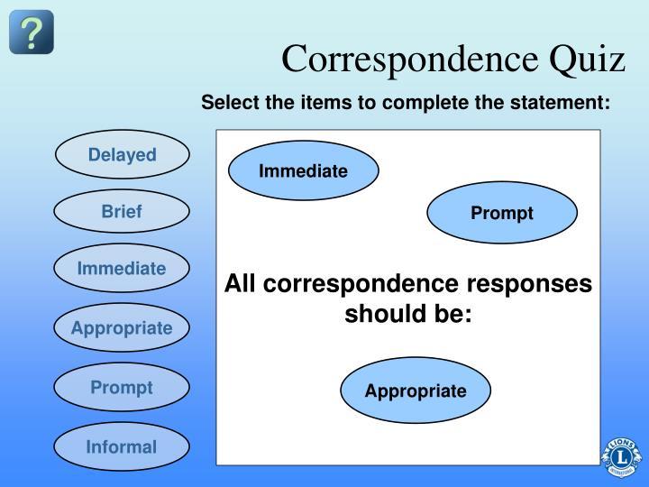 Correspondence Quiz