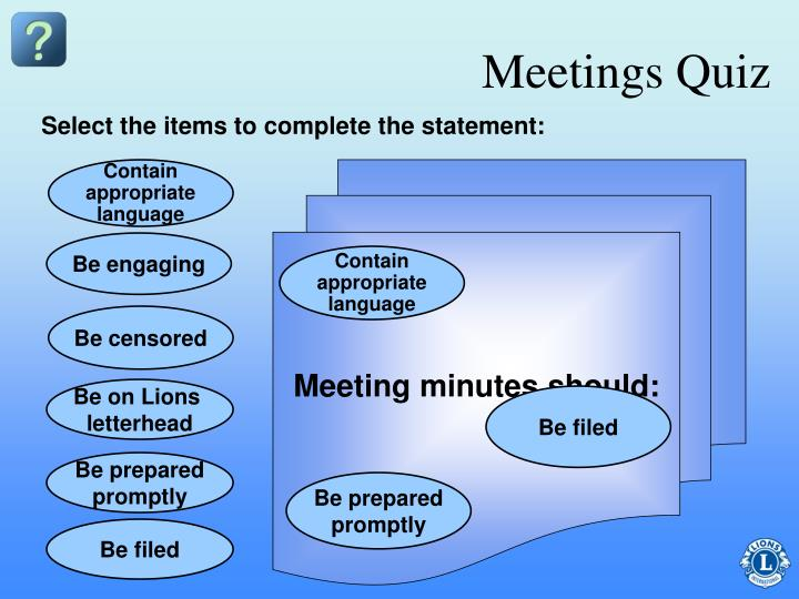 Meetings Quiz