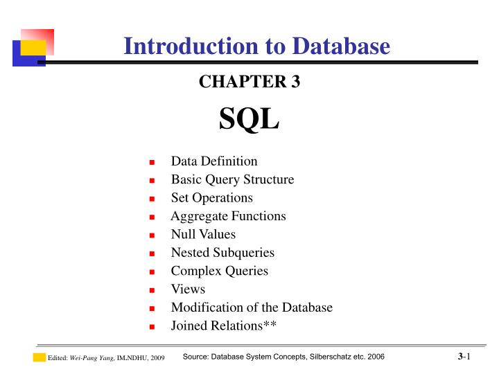sql introduction to database Introduction to oracle 11g sql programming contents chapter 1 - course introduction relational database and sql overview.