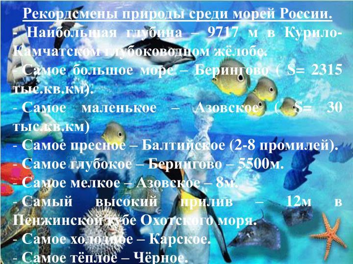 Рекордсмены природы среди морей России.