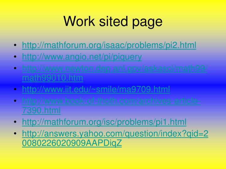 Work sited page