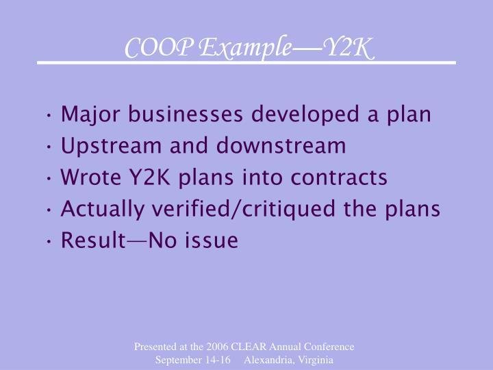 COOP Example—Y2K