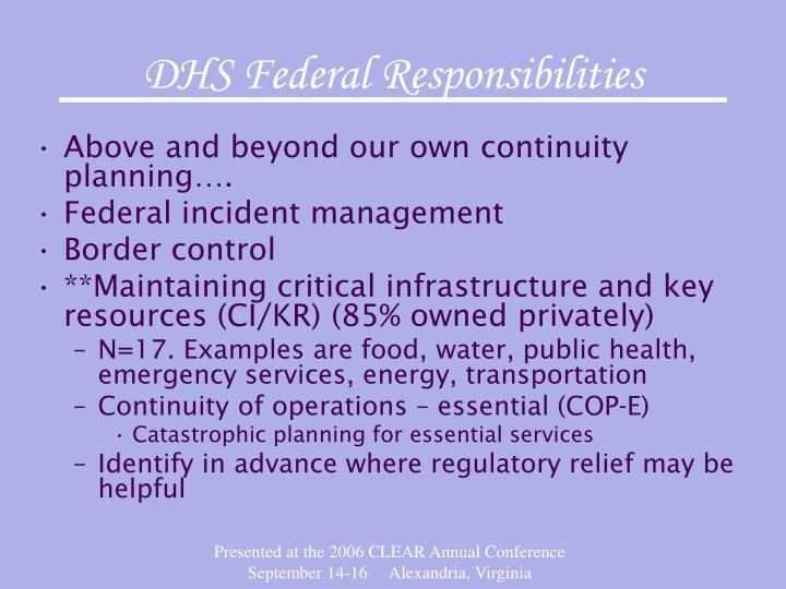 DHS Federal Responsibilities