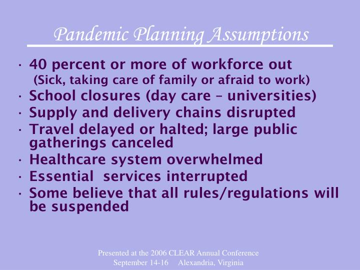 Pandemic Planning Assumptions