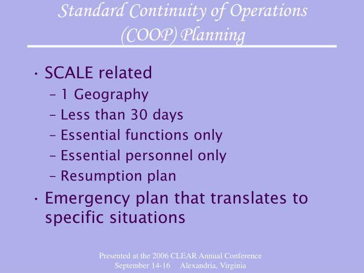 Standard continuity of operations coop planning