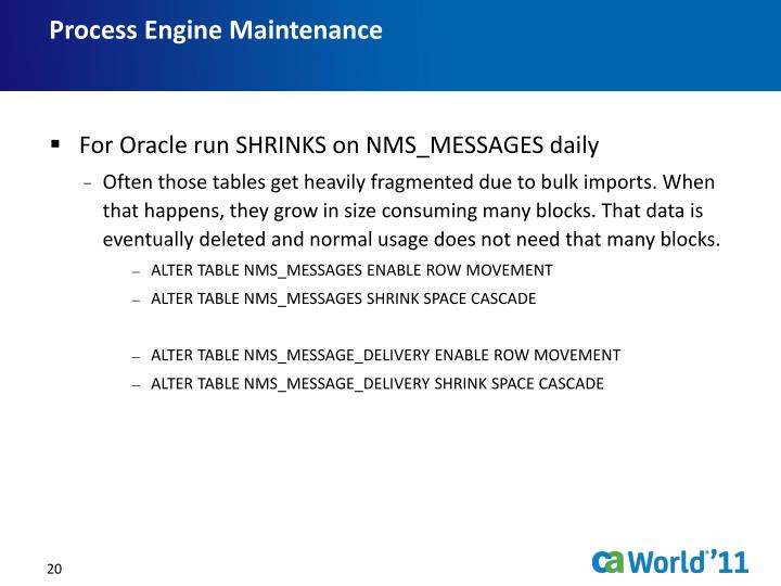 Process Engine Maintenance
