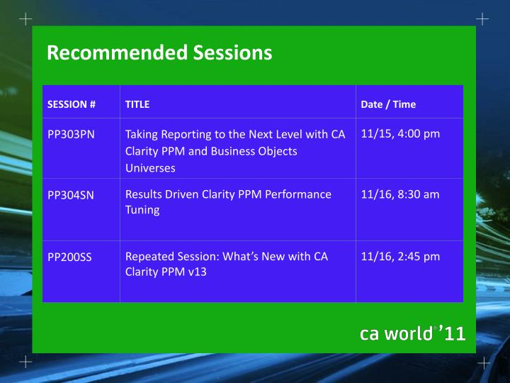 Recommended Sessions