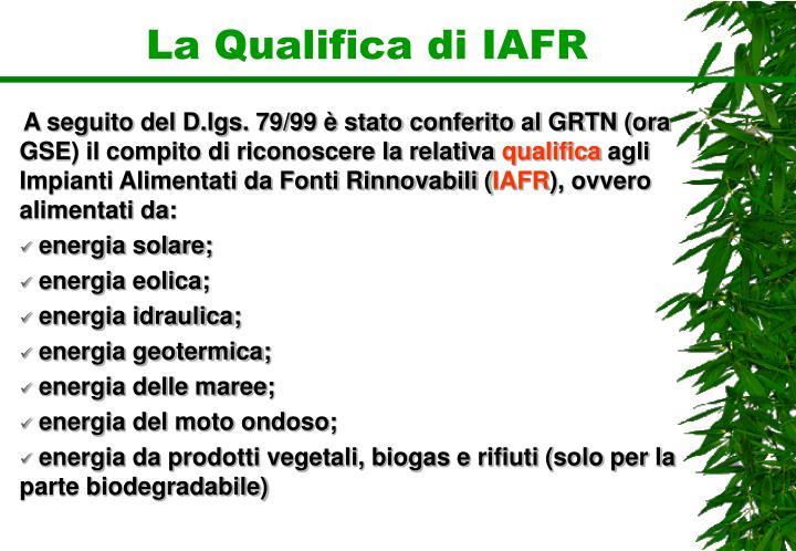 La Qualifica di IAFR