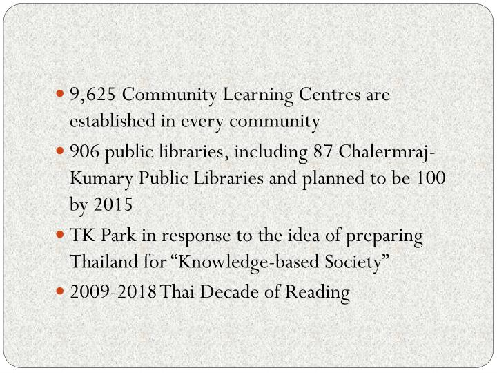 9,625 Community Learning Centres are established in every community