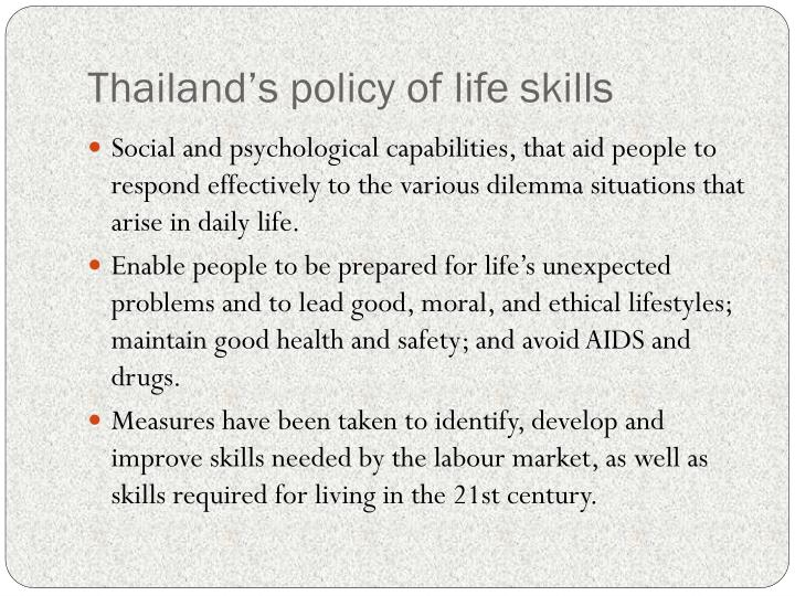 Thailand's policy of life skills