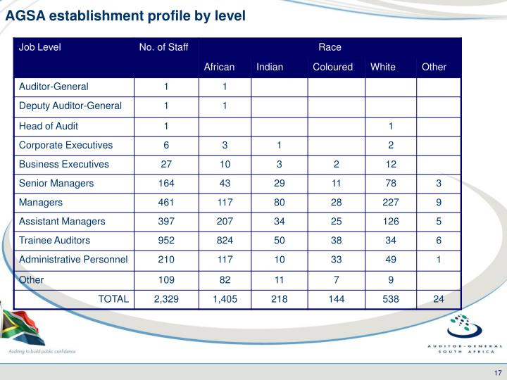 AGSA establishment profile by level