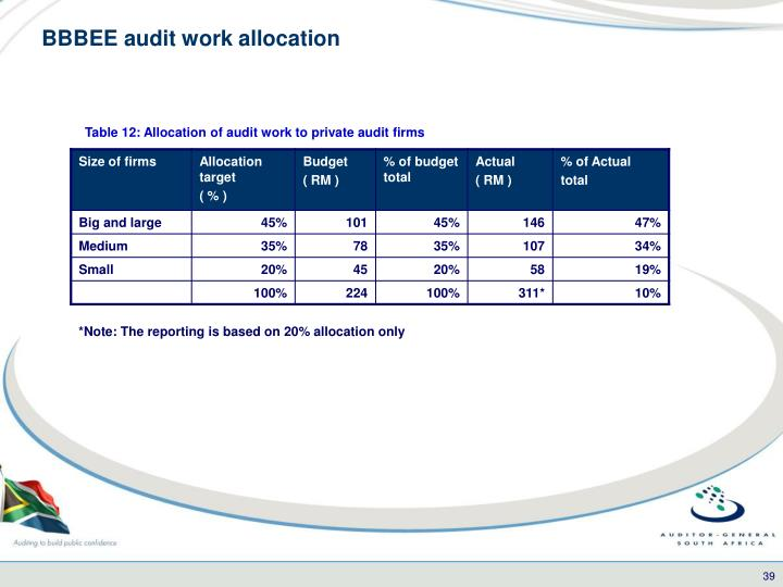 BBBEE audit work allocation