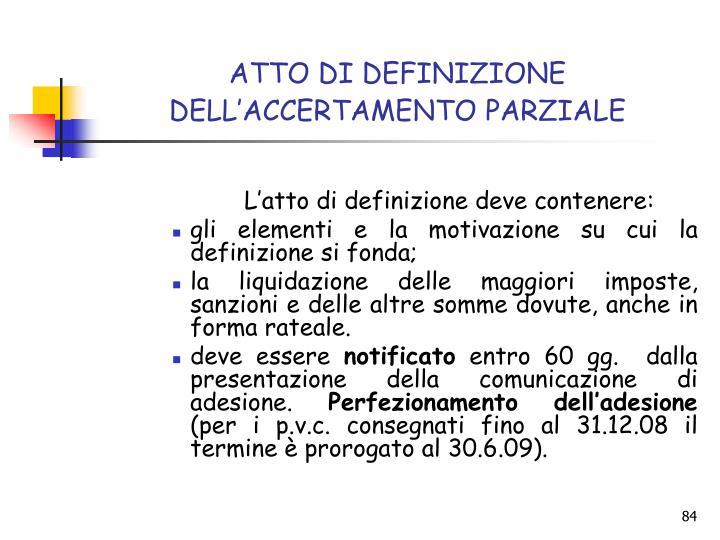 ATTO DI DEFINIZIONE DELL'ACCERTAMENTO PARZIALE