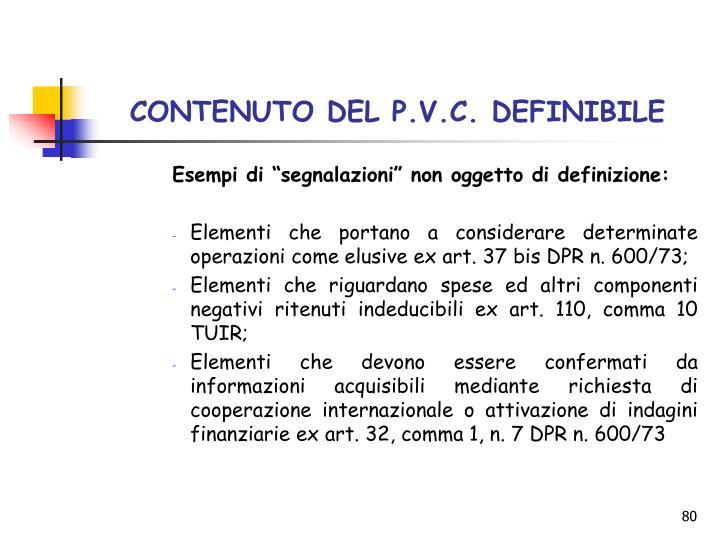 CONTENUTO DEL P.V.C. DEFINIBILE