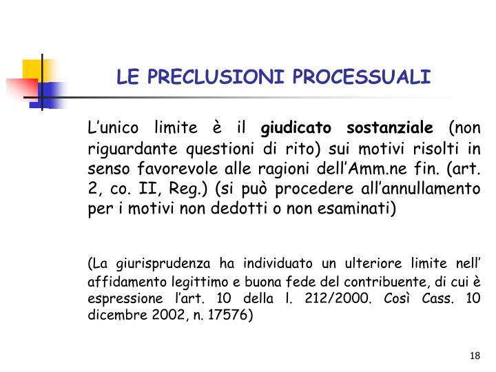 LE PRECLUSIONI PROCESSUALI