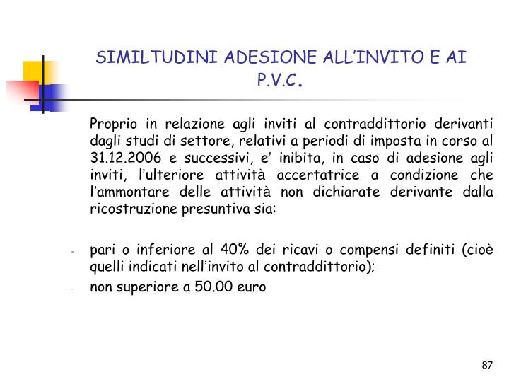 SIMILTUDINI ADESIONE ALL'INVITO E AI P.V.C