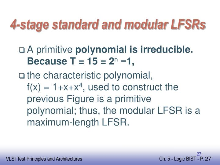 4-stage standard and modular LFSRs
