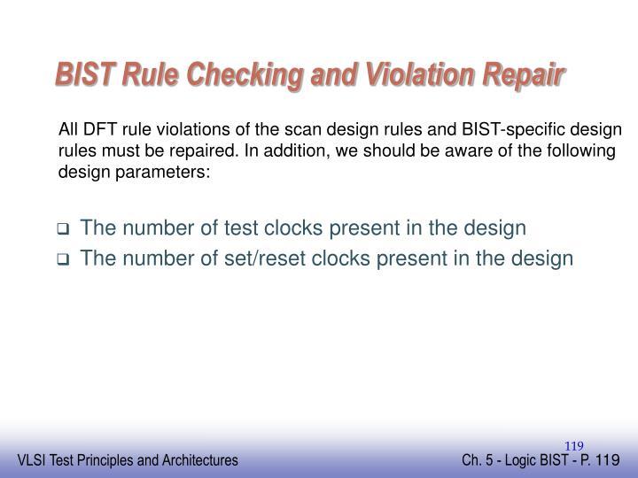 BIST Rule Checking and Violation Repair