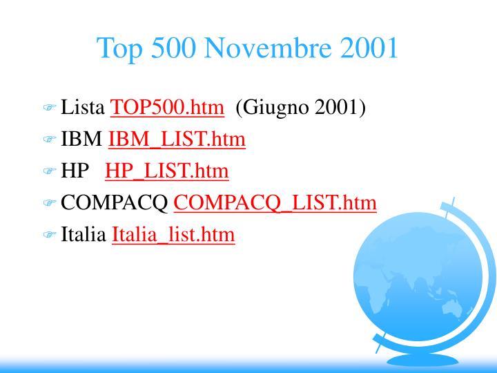 Top 500 Novembre 2001