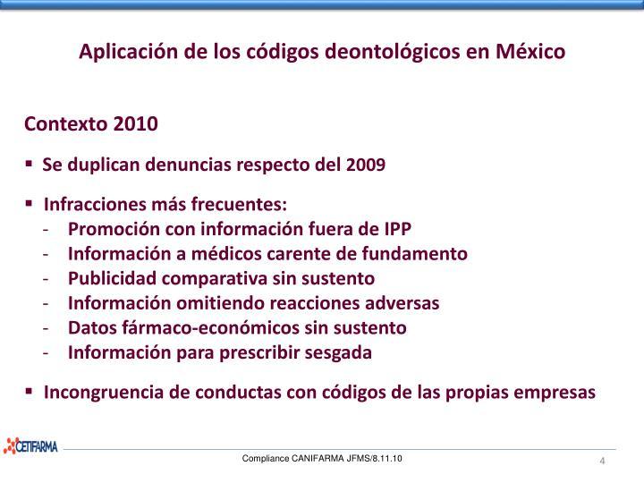 Aplicación de los códigos deontológicos en México