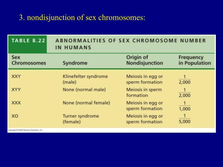 3. nondisjunction of sex chromosomes: