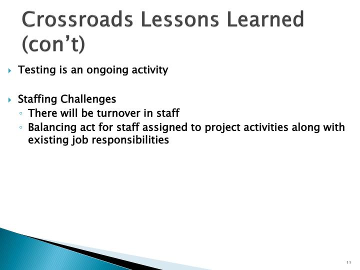 Crossroads Lessons Learned (