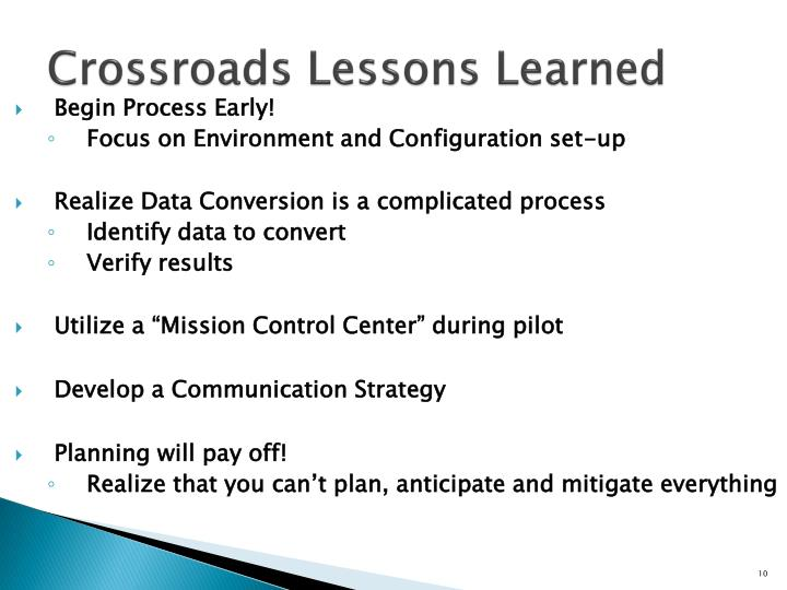Crossroads Lessons Learned