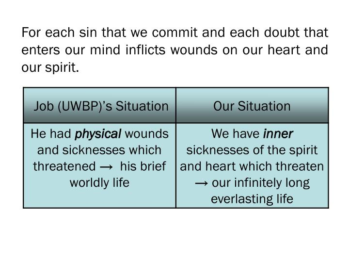 For each sin that we commit and each doubt that enters our mind inflicts wounds on our heart and our spirit.
