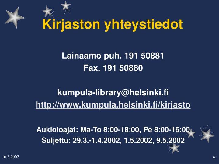 Kirjaston yhteystiedot