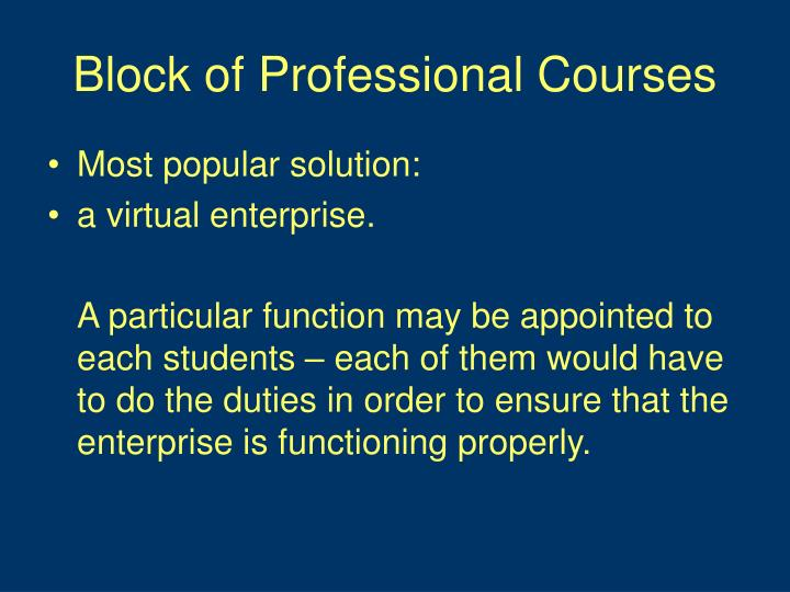 Block of Professional Courses